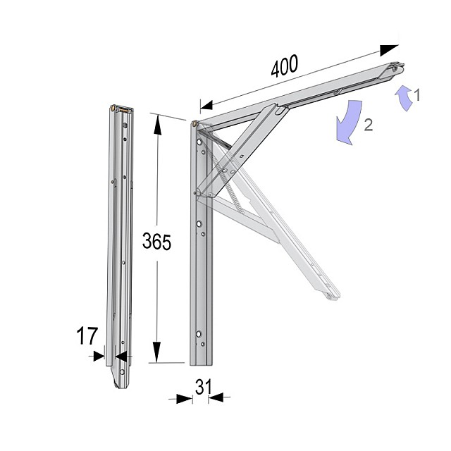 FOLDING SELF BRACKET WITH ERGONOMIC HANDLE 40cm/80kg WHITE